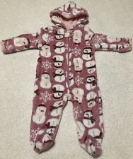 Used Baby Girls Baby Gear Pink/Snowman Fleece Coverall Size 3-6 Months