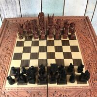 Vintage Wooden Hand Carved Aztec Design Chess & Backgammon Board With Legs