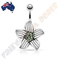 Surgical Steel Jewelled Belly Ring with Green Cubic Zirconia Gem Centre Flower