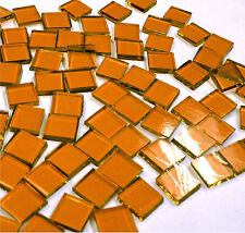"""110 Mosaic Tiles 1/2"""" Autumn Orange Warm Amber Brown Artique Stained Glass"""