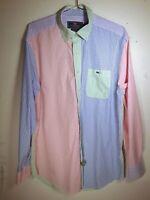 Vineyard Vines Men Tucker Shirt Whale LS Button-Front Color Block Stripes Large
