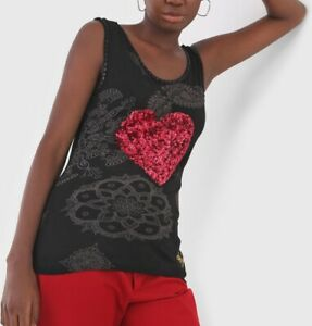 Desigual Black Sleeveless Top Red Sequin Heart NWT size EUR L, UK-AUS12-14 (T47)