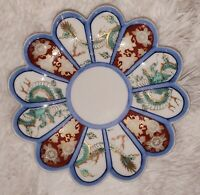 Arita Imari Fan Design Scalloped Edge Plate Dish Porcelain Japan