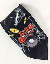 Drum Kit/drums Tie. NWOT. Black. Made In Italy