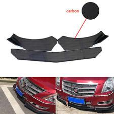 Carbon Look Front Bumper Protector Body Splitter Spoiler Lip 3Pcs Universal
