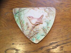Hand Made Ceramic Wall Plaque Depicting Wren Bird
