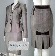 KAREN MILLEN brown TWEED skirt suit JACKET 1940'S WW2 velvet bow RETRO 8 RARE!