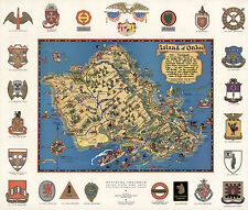1931 Pictorial Map Hawaiian Island of Oahu Vintage Wall Art Poster Print Decor