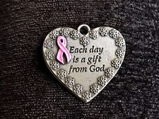 1 BREAST CANCER AWARENESS PINK RIBBON PEWTER HEART PENDANT ALL NEW.