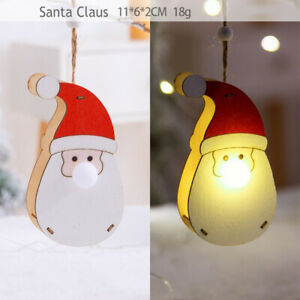 LED Light Wooden Hanging Pendants Christmas Decorations