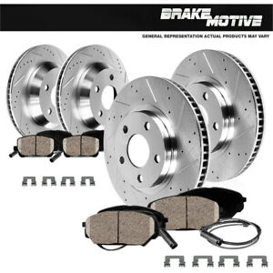 Front+Rear Drill Slot Brake Rotors & Ceramic Pads For Mercedes-Benz S430 S500