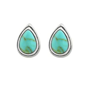 Genuine 925 Sterling Silver Pear Teardrop Turquoise Stud Earrings Women Girls