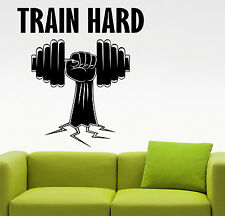 Gym Train Hard Wall Decal Fitness Motivational Vinyl Sticker Art Room Decor 2efs
