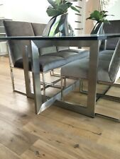 Glass Dining Table and 8 Mitchell Gold Gage Chairs
