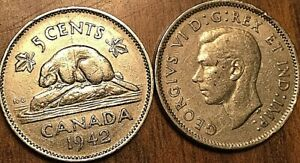 1942 CANADA 5 CENTS COIN GRADE G or Better BUY 1 OR MORE Its free S/H