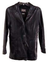 Wilsons Womens Leather Jacket Size Small Black Button Down Thinsulate Liner