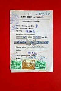 INDONESIA/ Irian Barat : PTT Electricity Receipt BIAK Pmk ('65) Pink