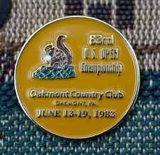 "1983 US OPEN Oakmont CC 1"" 2-Sided Gold Plated Golf Ball Marker_Larry Nelson Won"