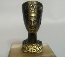 """Vintage Old Copper Statue Egyptian Queen Nefertiti With Original Marble Base 2"""""""