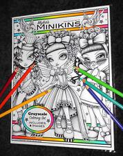 Mykas Minikins Grayscale Set 1 Loose Leaf Coloring Book Big Eyed Child Fairy