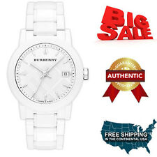 100% NEW BURBERRY WOMENS WHITE CERAMIC CLASSIC PLAID DIAL CALENDAR WATCH BU9180