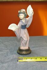 "Alluring Lladro #4991 ""Japanese With Fan "" Geisha With 2 Fans - Retired-As Is"