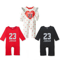 BABY LONG SLEEVE JORDAN 23 HEART ROMPER BOY GIRL BABYGROW OUTFIT JUMPSUIT CLOTH