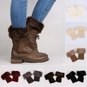 Women Winter Crochet Knit Leg Warmer Boot Socks Faux Fur Cuffs Topper Trim Ankle