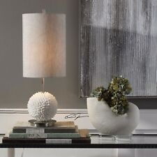 """NEW 24"""" FAUX SHELL SPHERE TABLE LAMP LINEN SHADE BRUSHED NICKEL METAL BEACH"""