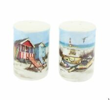 "Seaside Theme ""Sandy Bay"" Fine China Salt and Pepper Cruet Set"