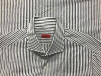 ISAIA Gray Alternating Stripe 100% Cotton Spread Mens Dress Shirt Sz 16.5 ITALY