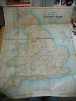 100% ORIGINAL LARGE ENGLAND WALES EXCELSIOR FOLDING MAP ON LINEN BY BACON C1900