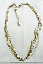 "Multi silver tone 9 link chains Cascade  Necklace 18.5""L"