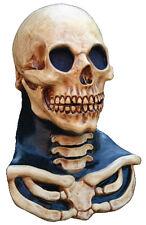 MENS SKULL & NECK MASK FULL OVERHEAD LATEX HALLOWEEN SKELETON FANCY DRESS NEW