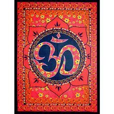 BED SPREAD: OM LOTUS Wicca Pagan Witch Goth Yoga Hippie ALTAR CLOTH WALL HANGING