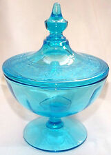 RARE FOSTORIA ROYAL ETCHED DEEP BLUE FOOTED COVERED CANDY JAR!