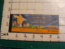 vintage 1940 Worlds Fair: COMBINATION BOOK OF SOUVENIR TICKETS all the same