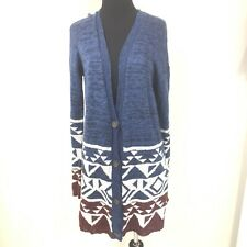 HOLLISTER BLUE RED WHITE AZTEC NAVAJO WESTERN PRINT CARDIGAN SWEATER SIZE M/L