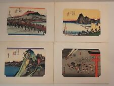 Japanese Woodblock Prints Set of 4 by Hiroshige Ando (1797-1858)