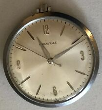 "Caravelle Vintage 1-3/4"" Pocket Watch Silver Tone 7 Jewel. Serviced. Manual Wind"