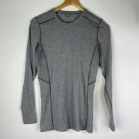 Kuhl Mens Long Sleeve Shirt Gray Heathered Crew Neck Fitted Base Layer Hiking S