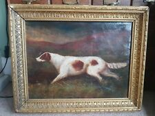 Antique Victorian Oil Painting Gun Dog Setter Sporting Countryside shooting 🐶