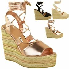 Womens Rose Gold Wedge Espadrille Sandals Tie up Strappy Platforms Size 5
