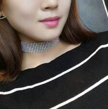 Damen Statement Choker elegante Halskette Collier Geschenk Strass Zirkonia breit