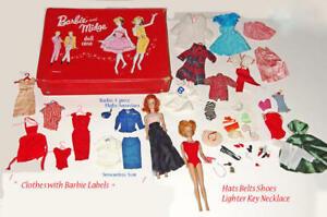 Vintage Barbie & Midge 1958 Dolls, 1963 Doll Case w/ loads Clothes Accessories