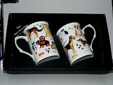 Chiens mug cadeau set 2x bone china mugs avec de nombreux diff chiens imprimer en noir boîte cadeau