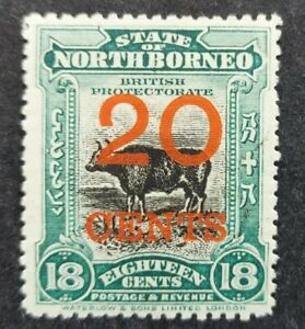"North Borneo 1909, ""Banteng"" 20c. schd. on18c. blue-green mh"