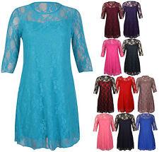 Lace 3/4 Sleeve Floral Plus Size Dresses for Women