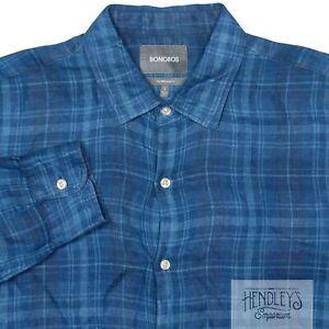 BONOBOS Linen Shirt L Blueberry Cyan Blue Plaid Spread Collar Tailored Slim Fit