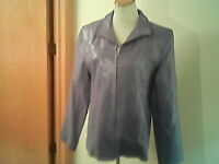 Gallery brand women's lilac leather jacket, XL, polyester lining, zip, pockets